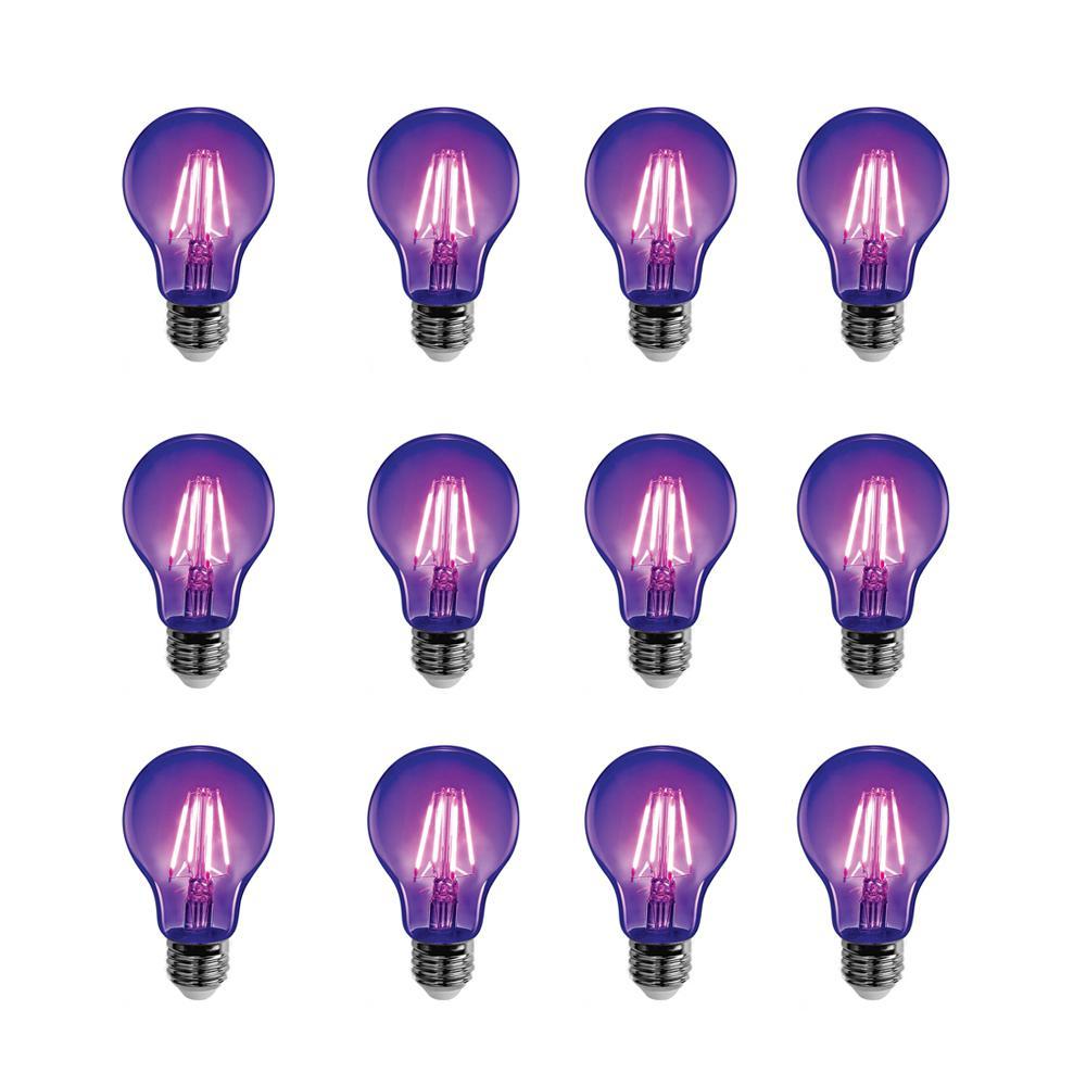 7-Watt A19 Glass Medium E26 Base LED Black Light Party Light Bulb (12-Pack)