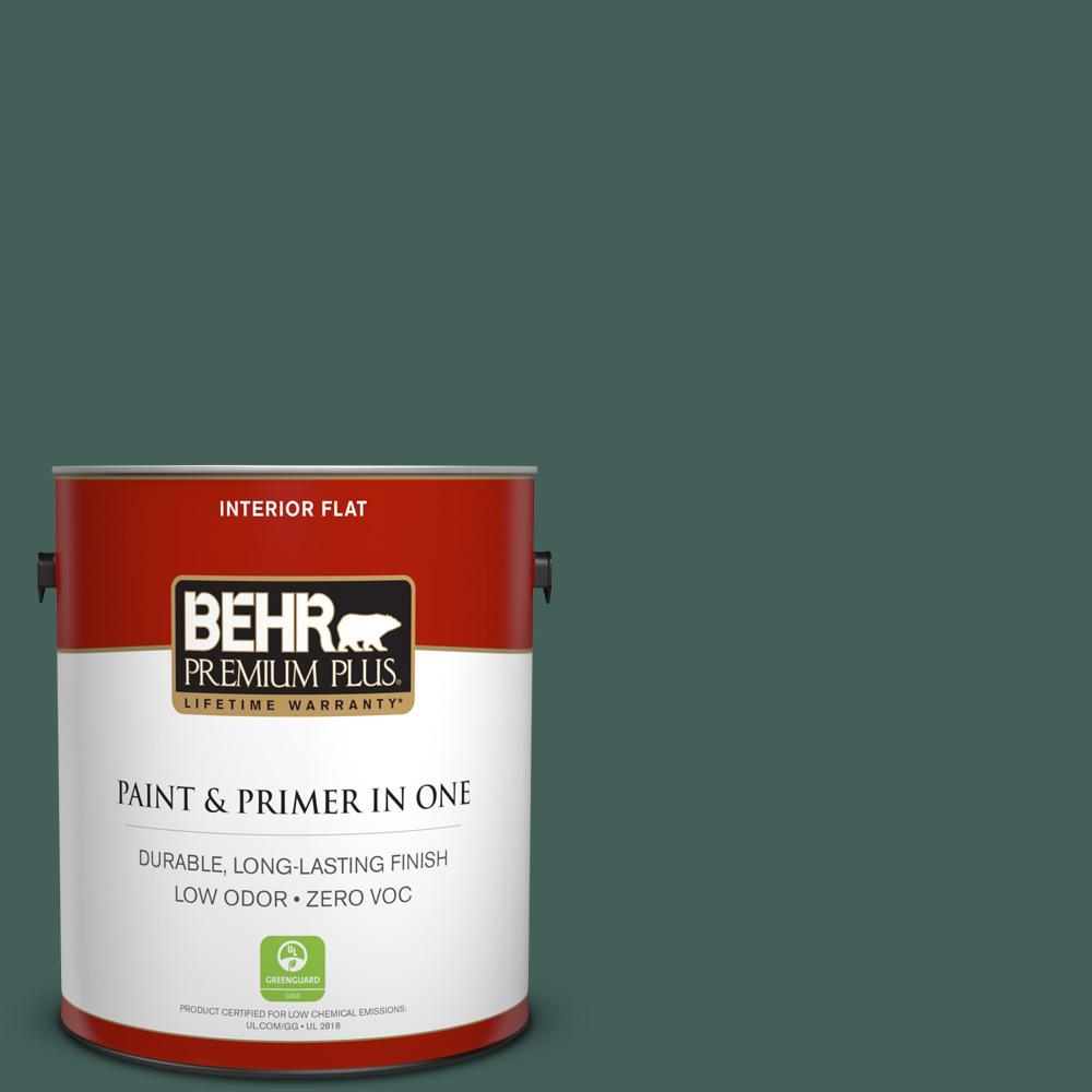 BEHR Premium Plus 1-gal. #BIC-54 Vert Pierre Flat Interior Paint