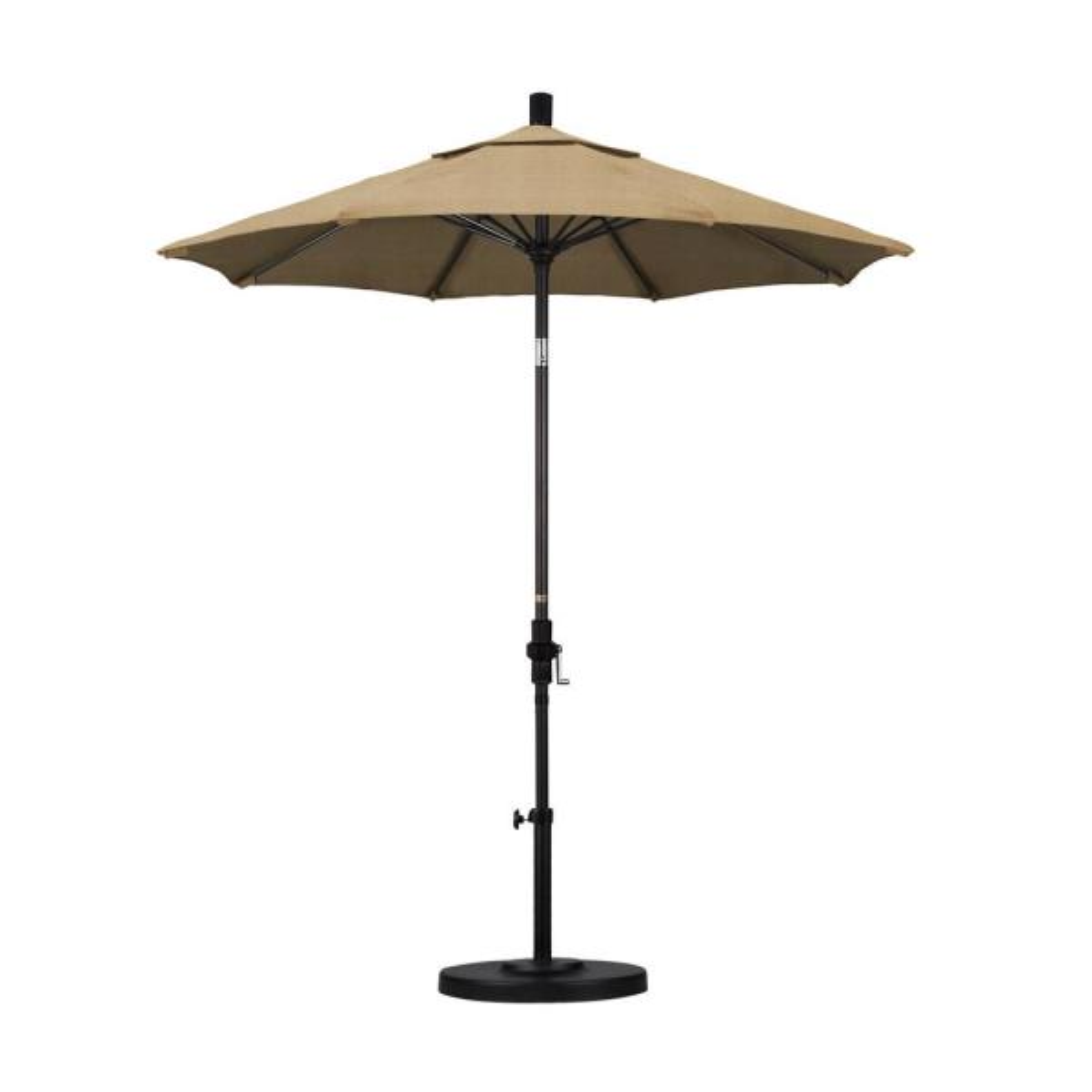 7.5 in. Bronze Aluminum Pole Market Fiberglass Ribs Collar Tilt Crank Lift Outdoor Patio Umbrella in Linen Sesame