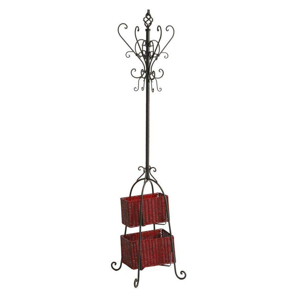 Home Decorators Collection Coat Rack with Rattan Storage in Black