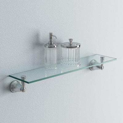 Banbury 5-4/25 in. L x 3 in. H x 22-3/4 in. W Wall-Mount Clear Glass Shelf in Brushed Nickel
