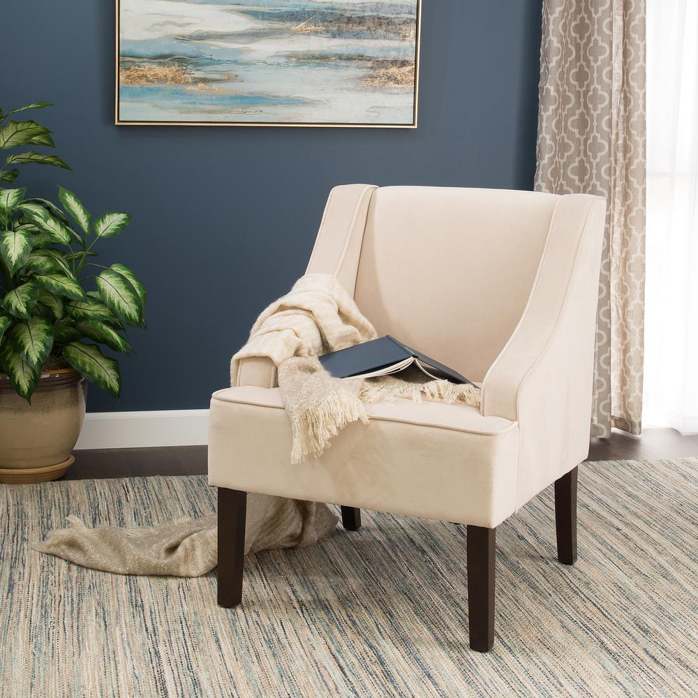 Swoop Arm Velvet Accent Chair Cream