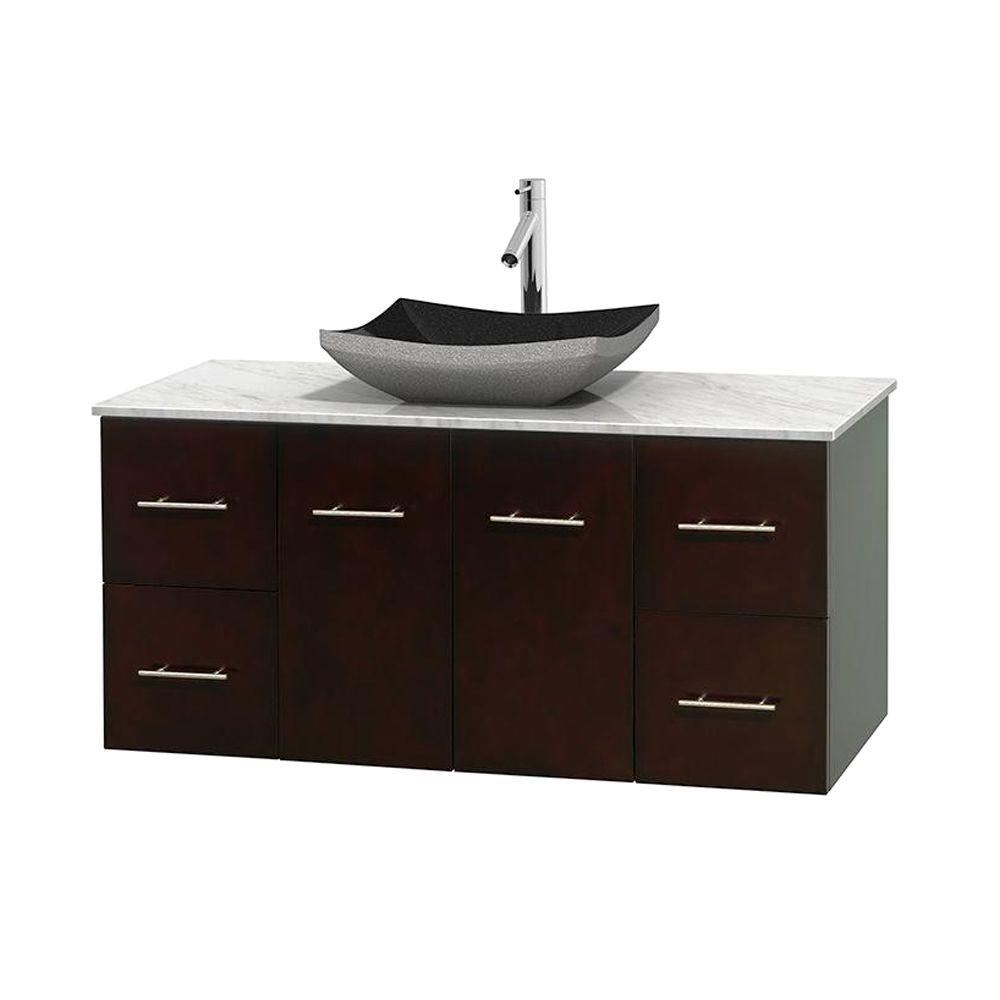 Wyndham collection centra 48 in vanity in espresso with for Black bathroom vanity with white marble top