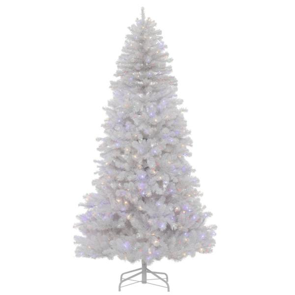 Christmas Tree At Home Depot Home Accents Holiday 7 5 Ft Manchester Slim White Spruce Led Pre Lit Artificial Christmas Tree With 350 Surebright Color Changing Lights Tg76p2900d01 The Home Depot