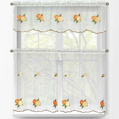 Sheer Oranges Embroidered 3-Piece Kitchen Curtain Tier and Valance Set