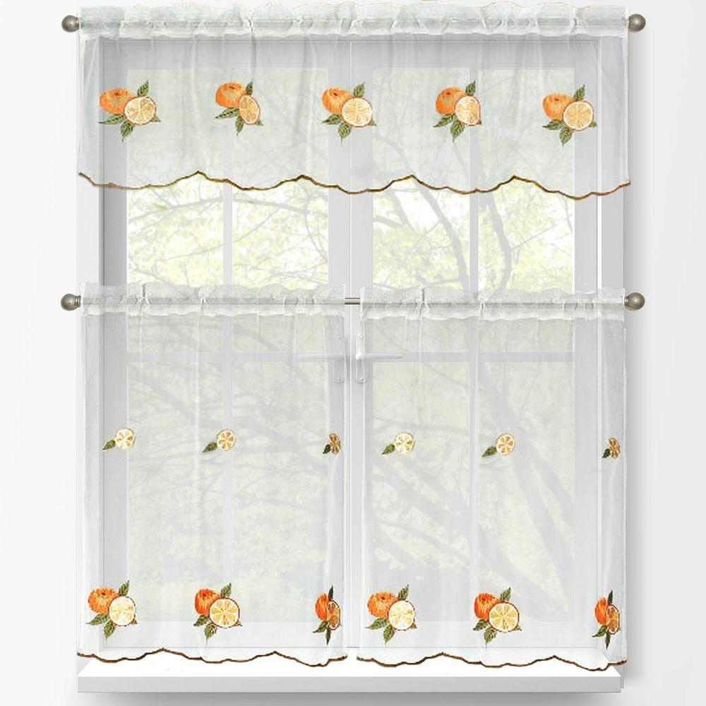Window Elements Sheer Oranges Embroidered 3 Piece Kitchen Curtain
