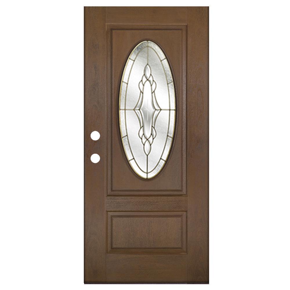 36 in. x 80 in. Medium Oak Right-Hand Inswing Andaman with Brass Oval Lite Prestige Fiberglass Prehung Front Door