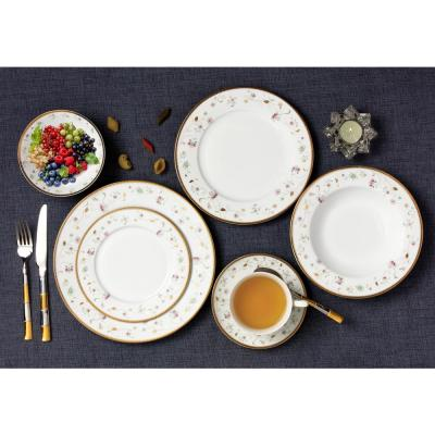 28-Piece Patterned Assorted Colors Bone China Dinnerware Set (Service for 4)