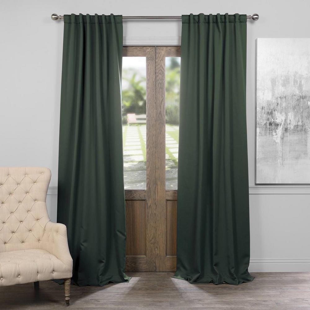 Exclusive Fabrics Furnishings Semi Opaque Dark Mallard Green Blackout Curtain 50 In W X 108 L Panel Boch 194906 The Home Depot