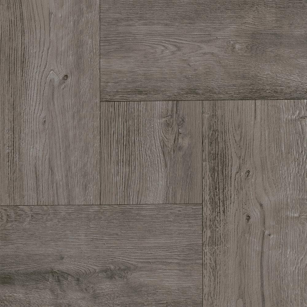Trafficmaster take home sample grey wood parquet peel for Stick on vinyl flooring