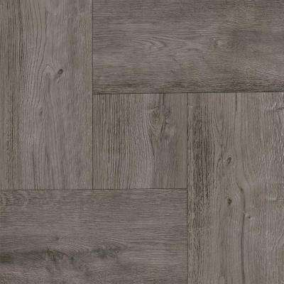 Take Home Sample - Grey Wood Parquet Peel and Stick Vinyl Tile Flooring - 5 in. x 7 in.