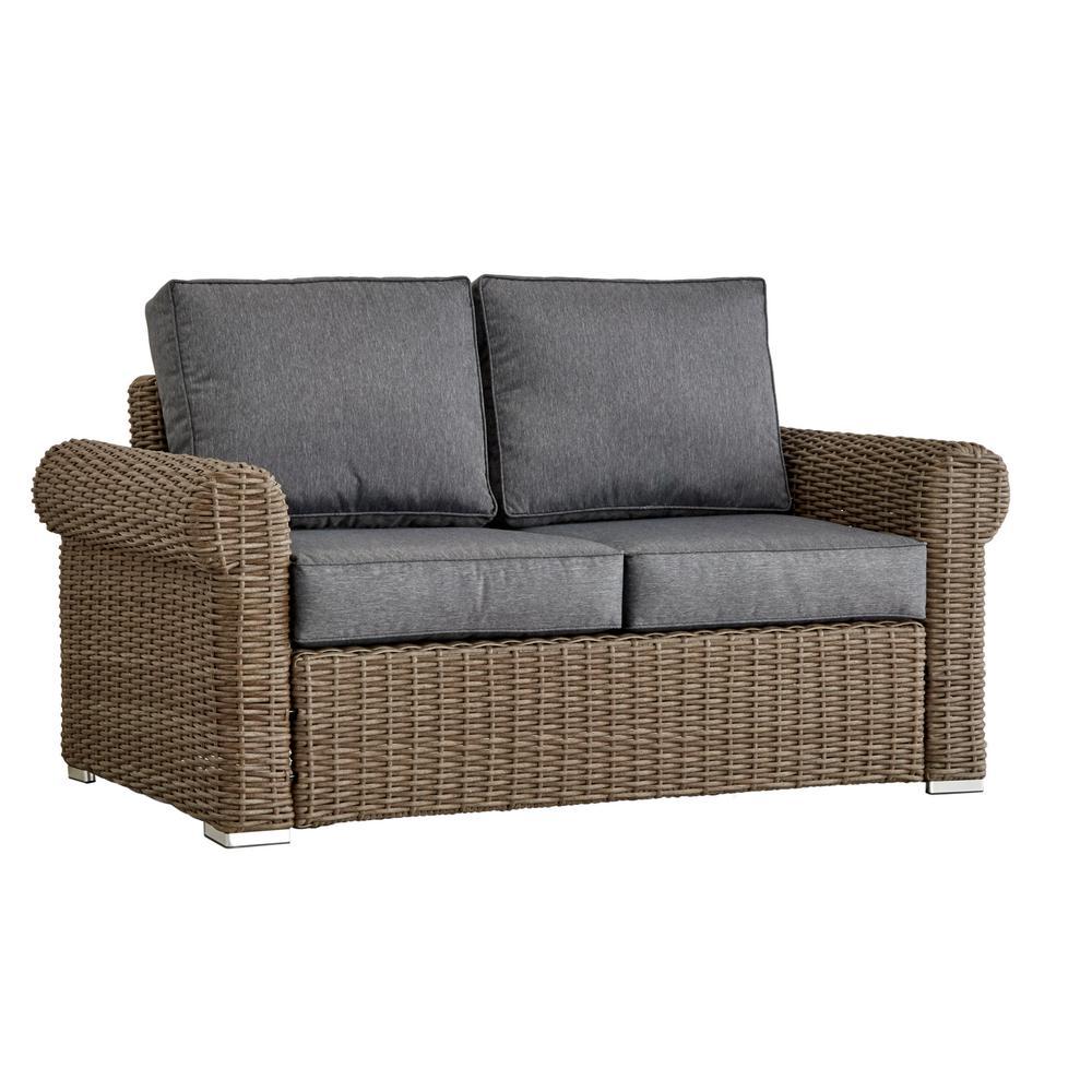 HomeSullivan Camari Mocha Rolled Arm Wicker Outdoor Loveseat with Gray Cushion