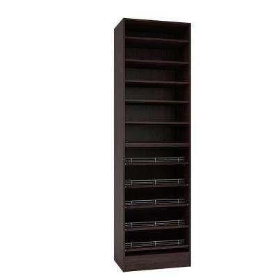 15 in. D x 24 in. W x 84 in. H Espresso Melamine with 11-Shelves and Slide Outs Closet System Kit