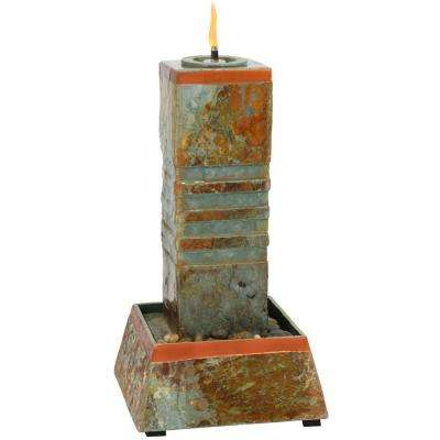 31 in. Natural Slate Cube Column Outdoor Water Fountain Tower with Torch Top