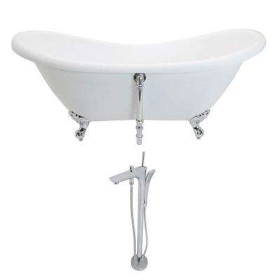 Aegis 68.75 in. Acrylic Double Slipper Clawfoot Non-Whirlpool Bathtub in White and Kase Series Faucet in Polished Chrome