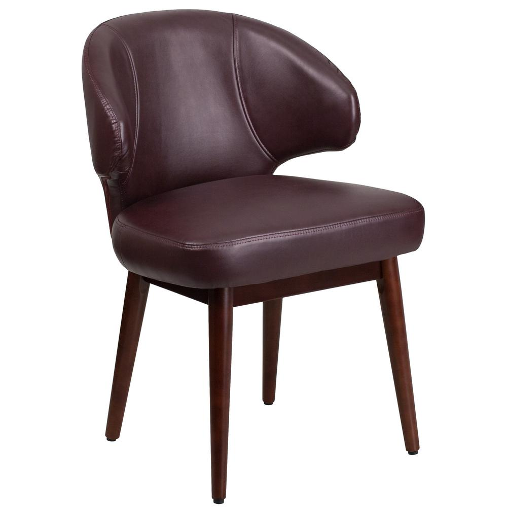 Flash Furniture Comfort Back Series Burdy Leather Reception Lounge Office Chair With Walnut Legs