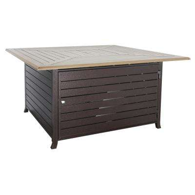 43,500 BTU Oak Look Aluminum Patio Table with Fire Pit