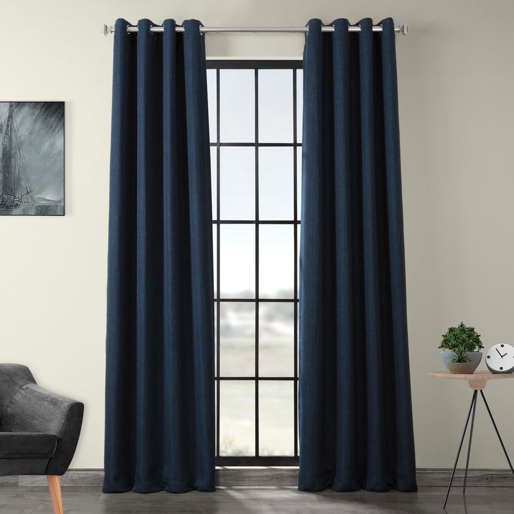 Indigo Blue Faux Linen Grommet Blackout Curtain - 50 in. W x 84 in. L