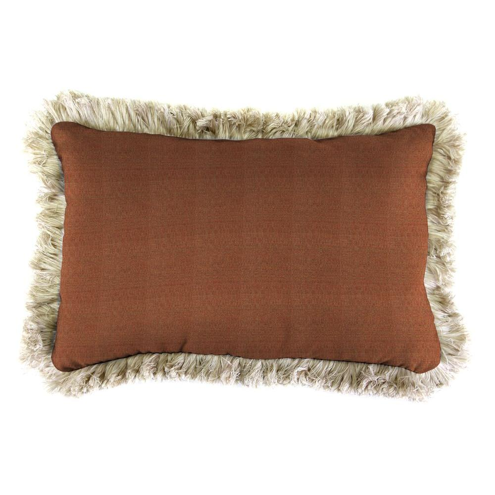 Sunbrella 19 in. x 12 in. Linen Chili Outdoor Throw Pillow