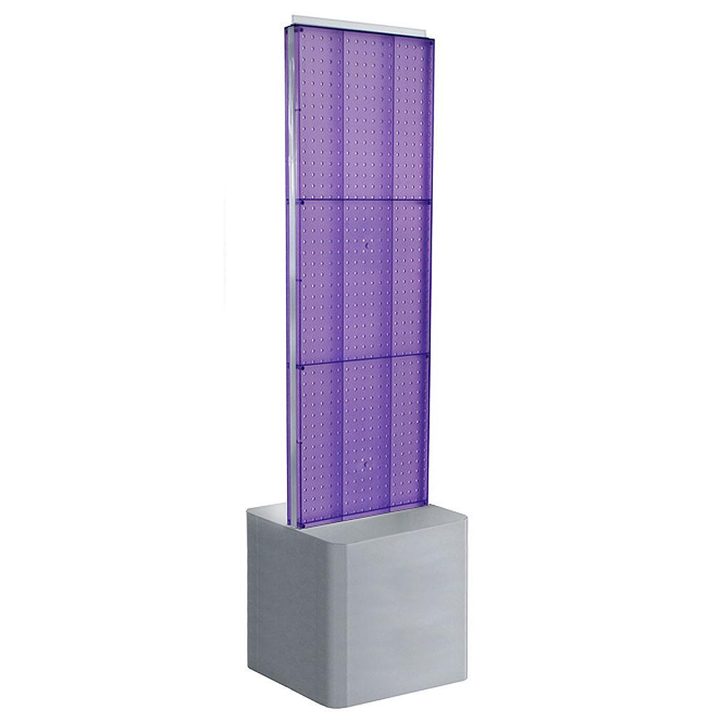 60 in. H x 16 in. W 2-Sided Pegboard Floor Display on Adjustable Studio Base in Purple