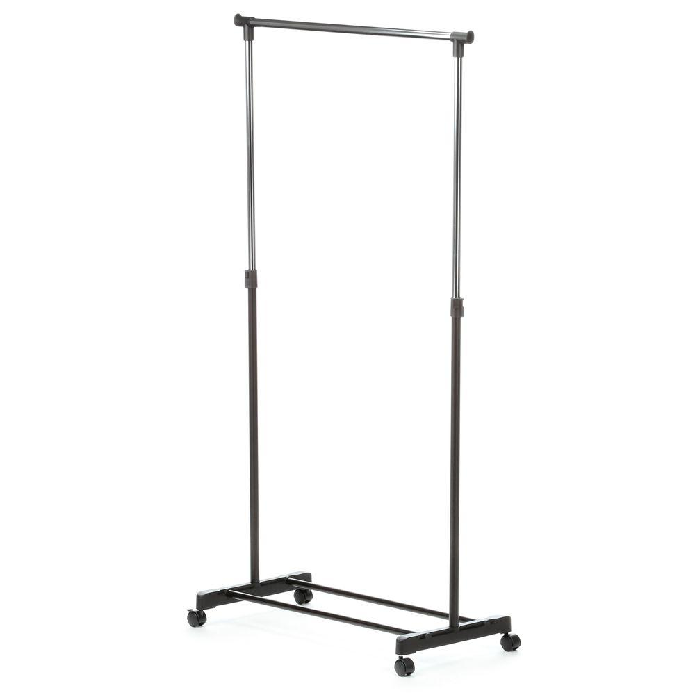 Marvelous Honey Can Do Adjustable Steel Rolling Garment Rack In Chrome/Black