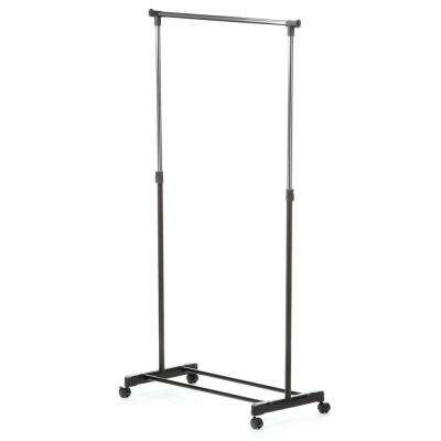 Adjustable Steel Rolling Garment Rack in Chrome/Black