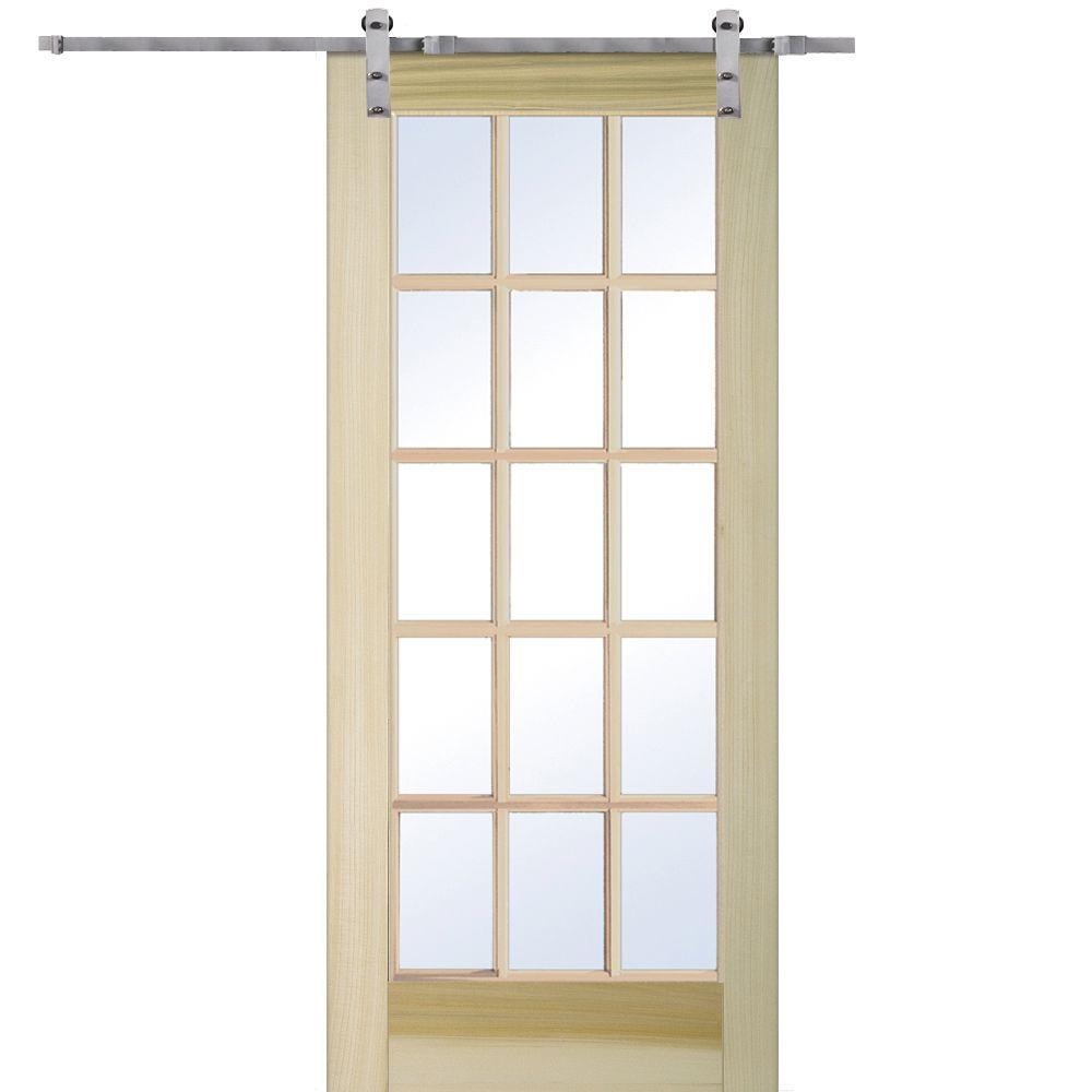 Mmi Door 36 In X 80 In Poplar 15 Lite Door With Barn Door Hardware