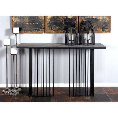 Brown Vertical Lines-Designed Rectangular Console Table with Black Frame