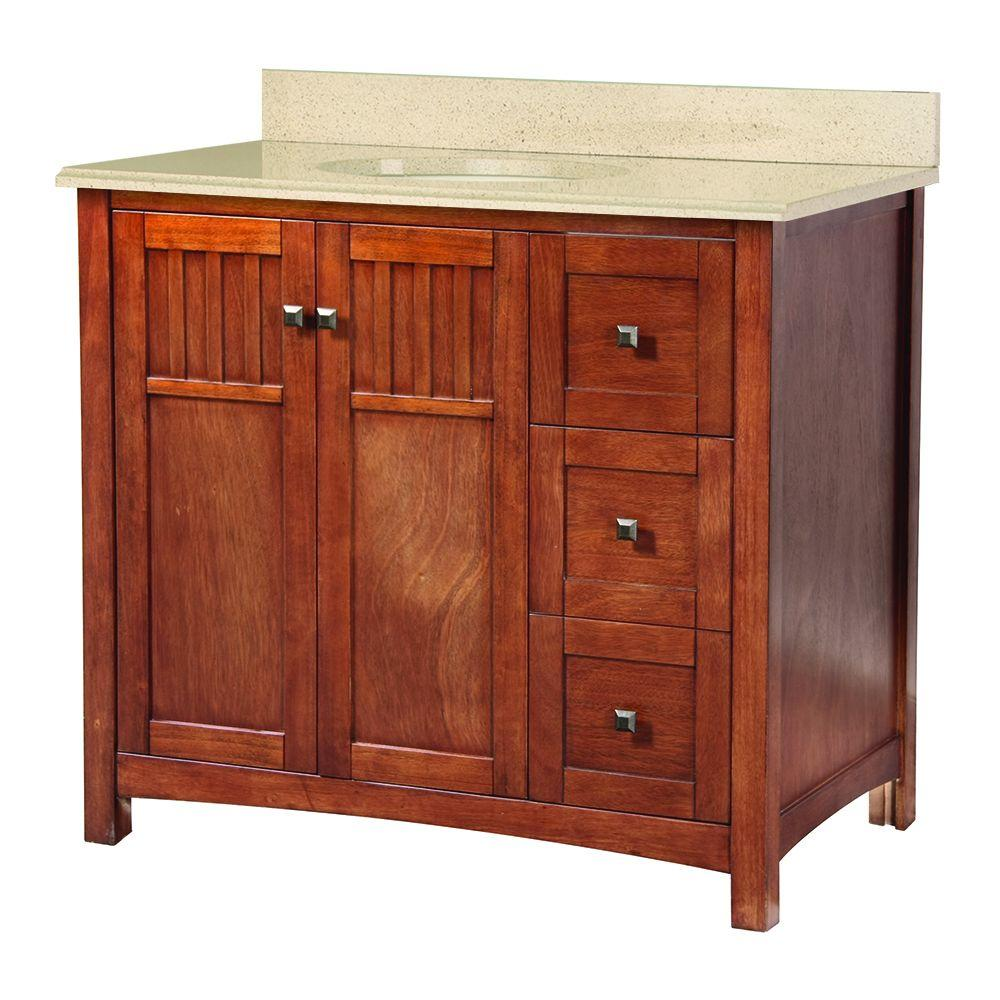 Foremost Knoxville 37 in. W x 22 in. D Vanity in Nutmeg with Colorpoint Vanity Top in Maui