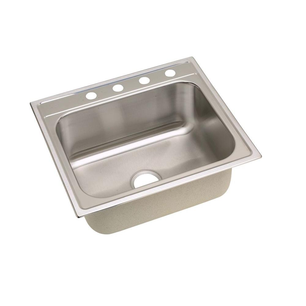 elkay signature drop in stainless steel 25 in  4 hole single bowl kitchen sink slpf2522104   the home depot elkay signature drop in stainless steel 25 in  4 hole single bowl      rh   homedepot com