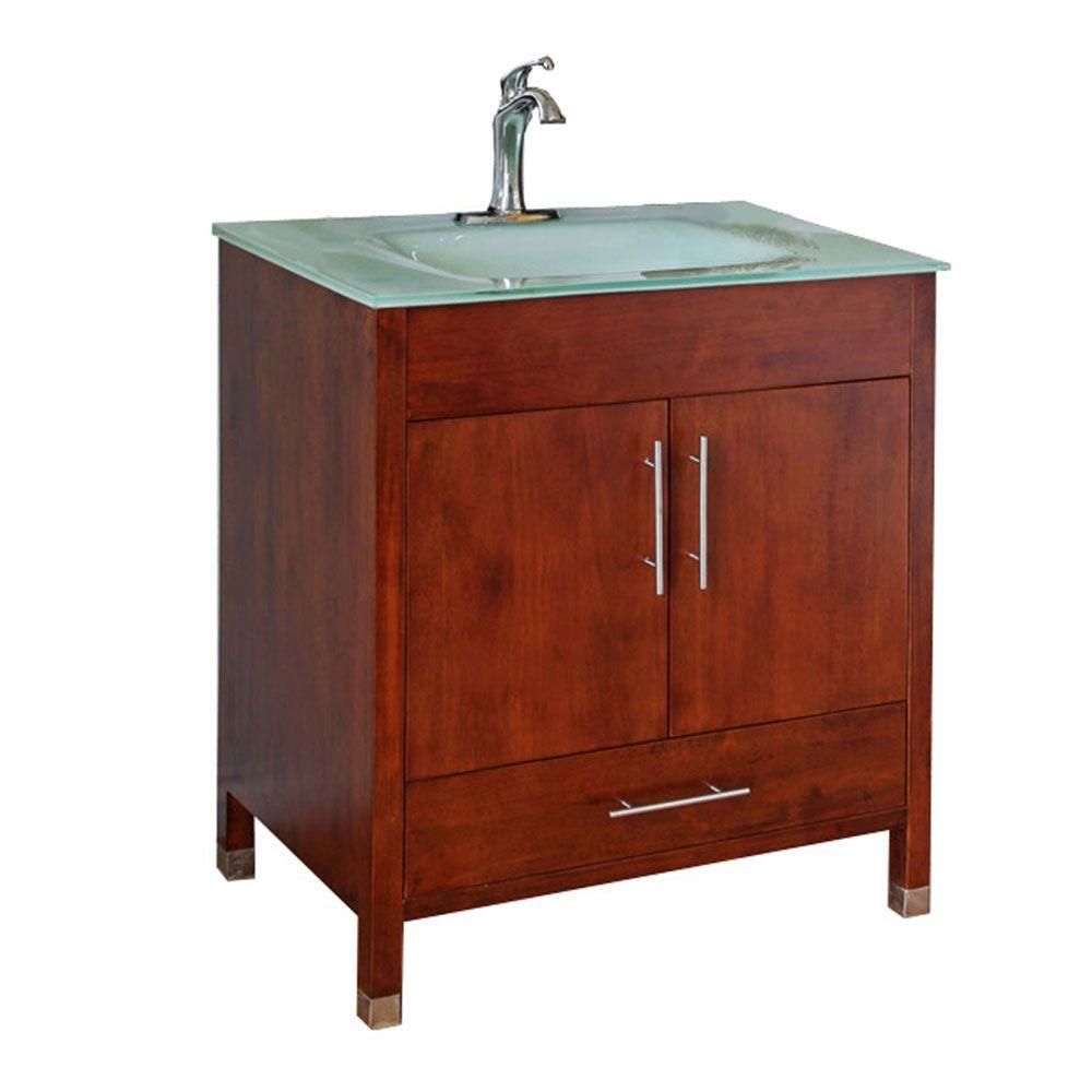 Oslo W 33 in. Single Vanity in Walnut with Glass Vanity