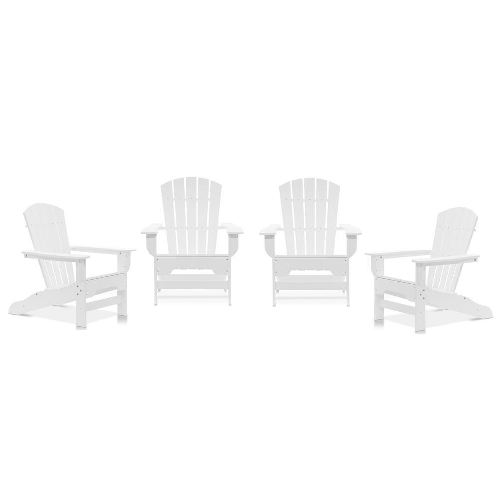 Boca Raton White Recycled Plastic Curveback Adirondack Chair (4-Pack)