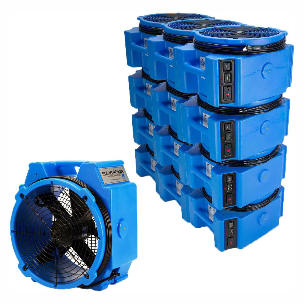 B-Air 1/4 Polar Axial Blower Fan High Velocity Air Mover for Water Damage  Restoration Blue (28-Pack)