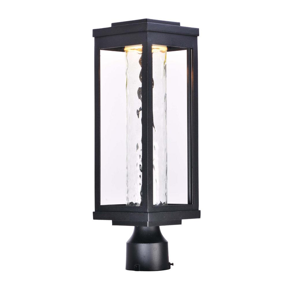Salon 6 in. Wide 1-Light Black Integrated LED Outdoor Post Light