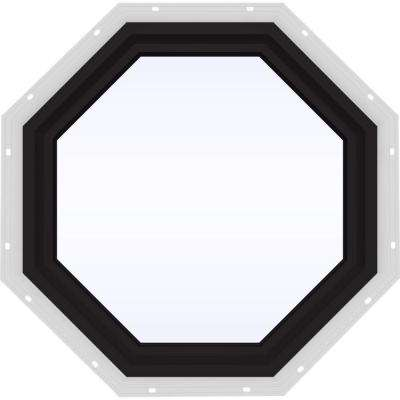 24 in. x 24 in. V-4500 Series Black FiniShield Vinyl Fixed Octagon Geometric Window w/ Low-E 366 Glass