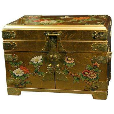 Oriental Furniture Daisi Lacquer Jewelry Box in Gold