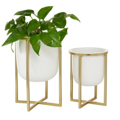 10 in. and 13 in. Round White Planter with Gold Metal Base (Set of 2)