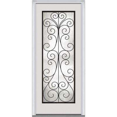 Left Handinswing Decorative Iron Details Primed Front Doors