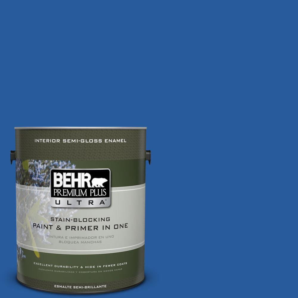 BEHR Premium Plus Ultra 1-gal. #P510-7 Beacon Blue Semi-Gloss Enamel Interior Paint