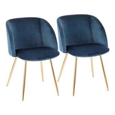 Fran Blue Velvet and Gold Chair (Set of 2)