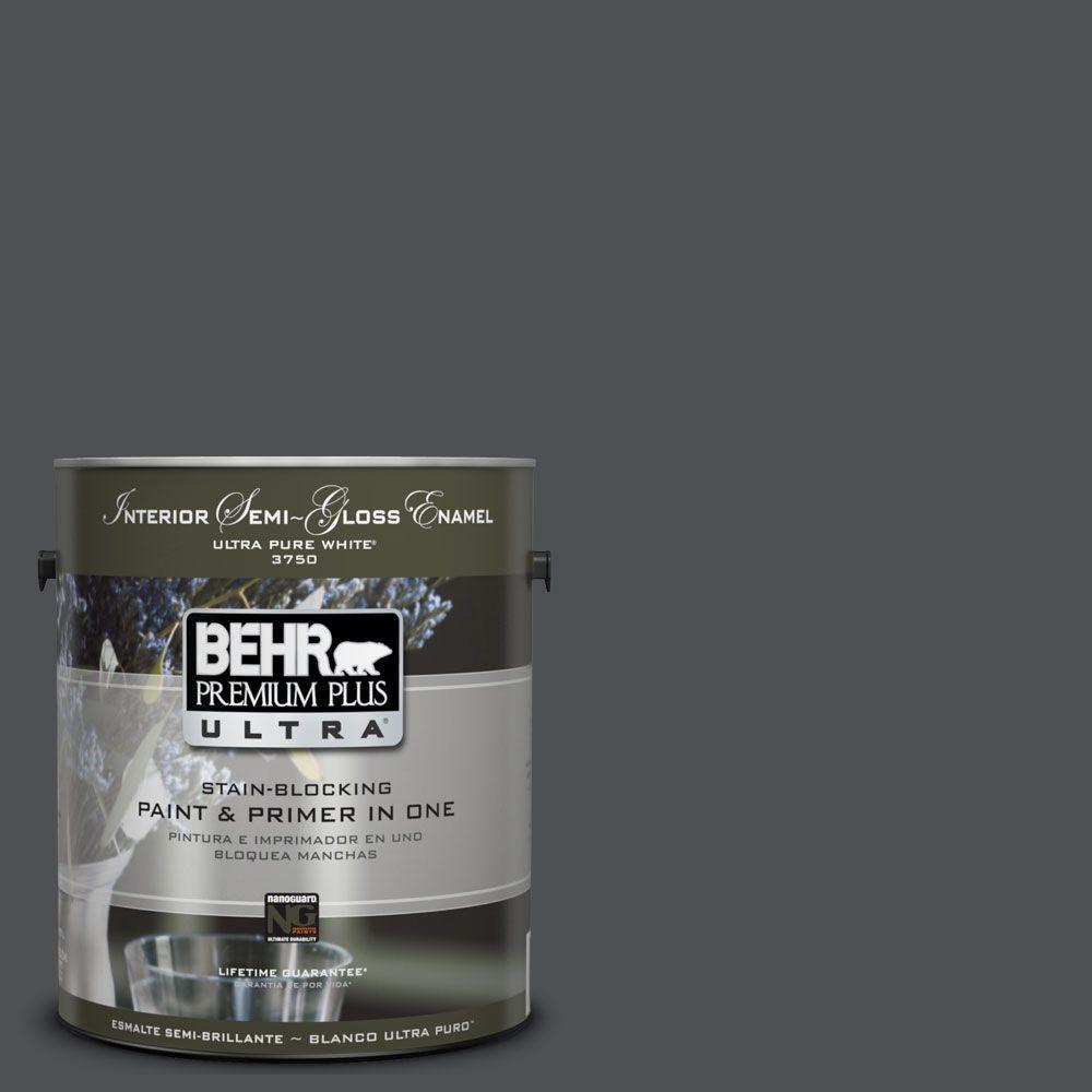BEHR Premium Plus Ultra 1-gal. #UL260-1 Cracked Pepper Interior Semi-Gloss Enamel Paint
