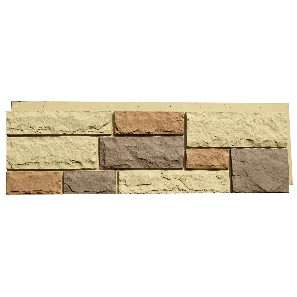 Random Rock 15.5 in. x 48 in. Faux Stone Siding Panel in New England Mocha (4-Pack)