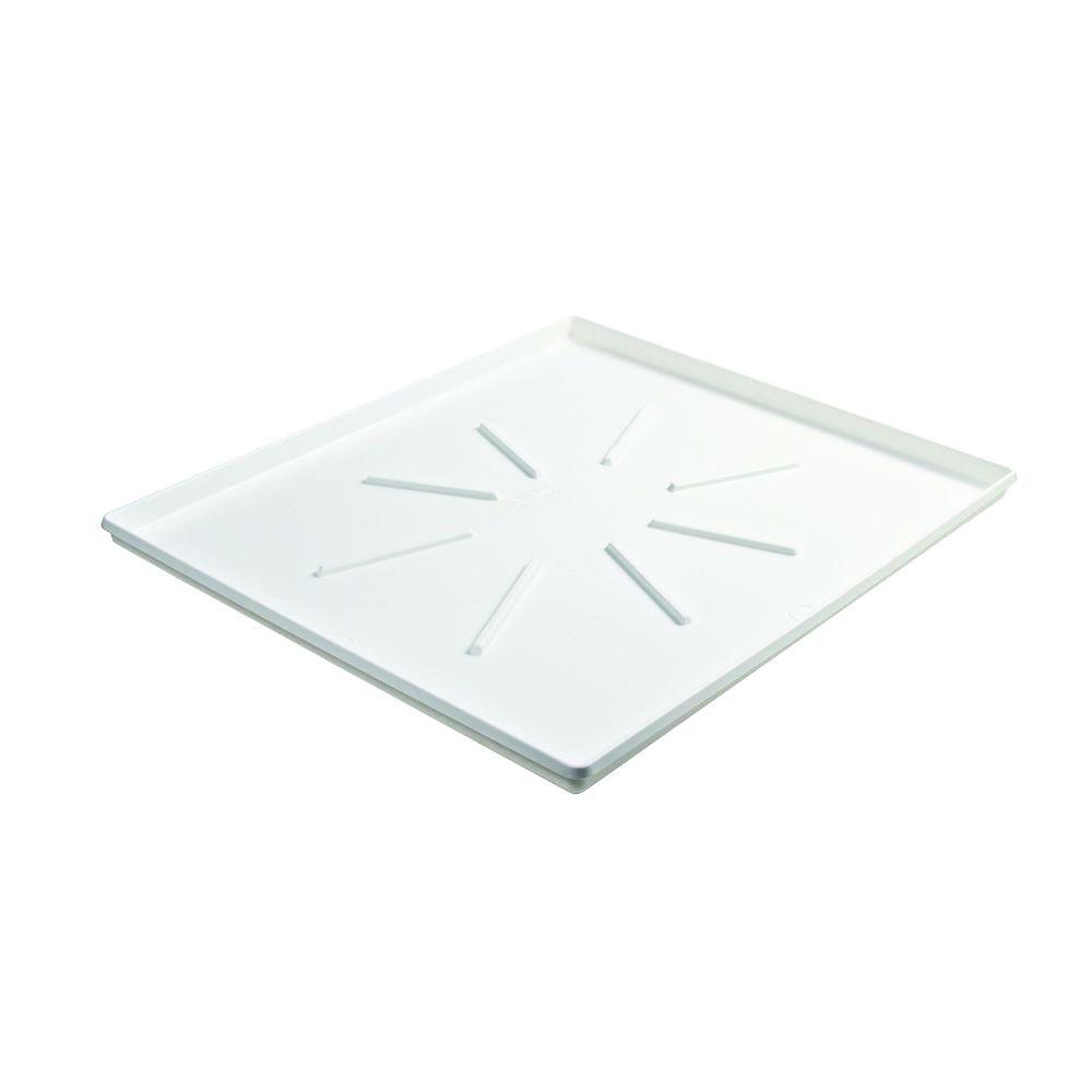 Camco 29 In X 33 In Low Profile Washing Machine Drain Pan With Pvc Fitting 20786 The Home Depot