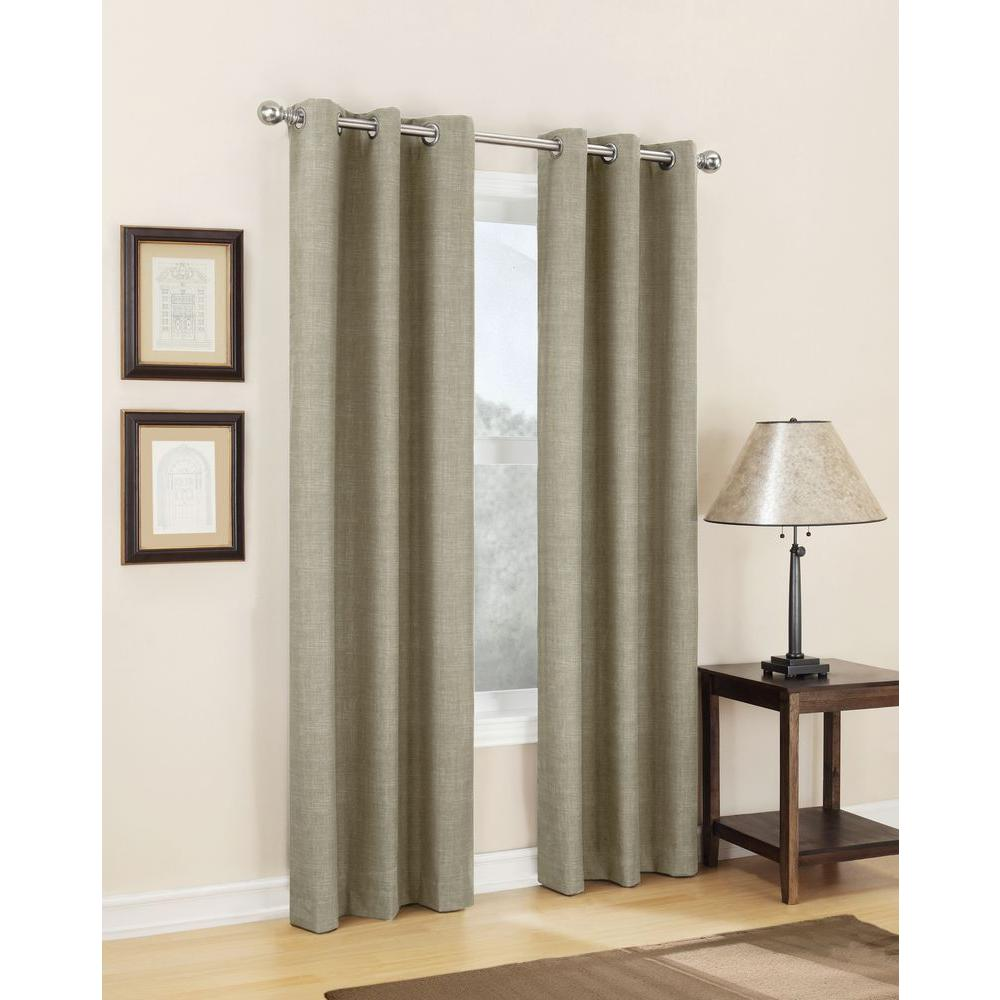 Sun Zero Semi-Opaque Linen Tom Thermal Lined Curtain Panel