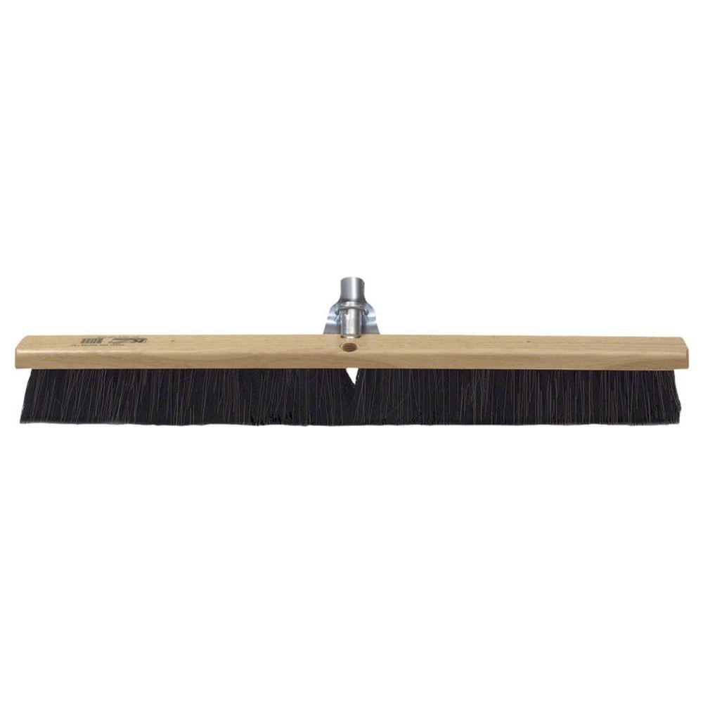 24 in. Black Horsehair Concrete Floor/Finish Broom -Wood Block