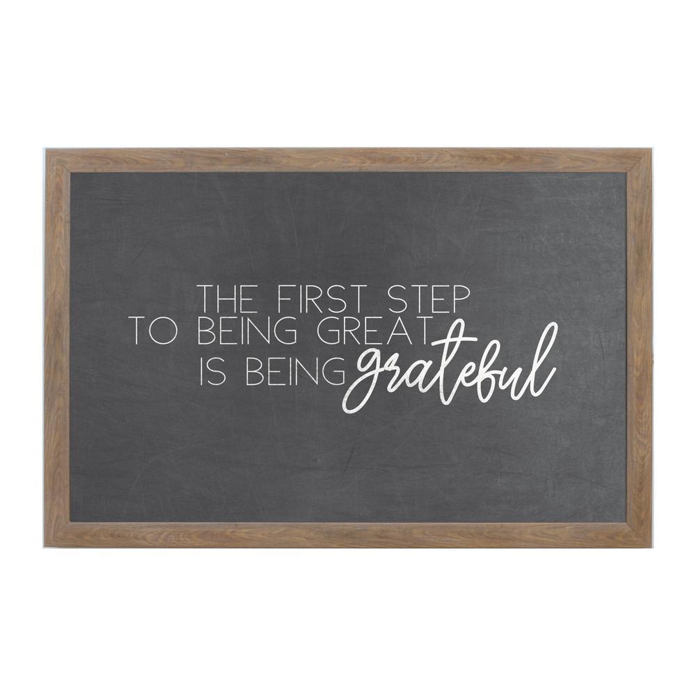 Chalk Grateful, RUSTIC BROWN FRAME, Magnetic Memo Board