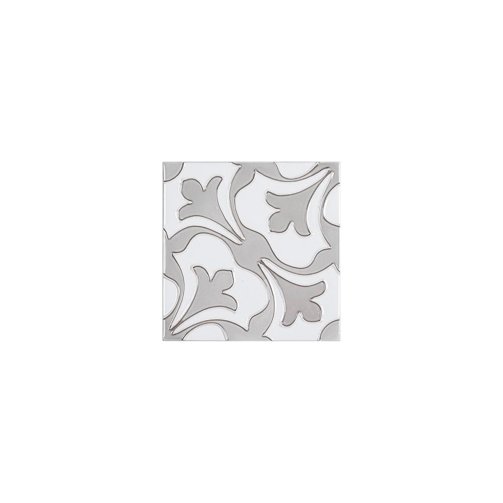 Jeffrey Court Fiore Gray 6 in. x 6 in. x Glossy Ceramic Wall Tile