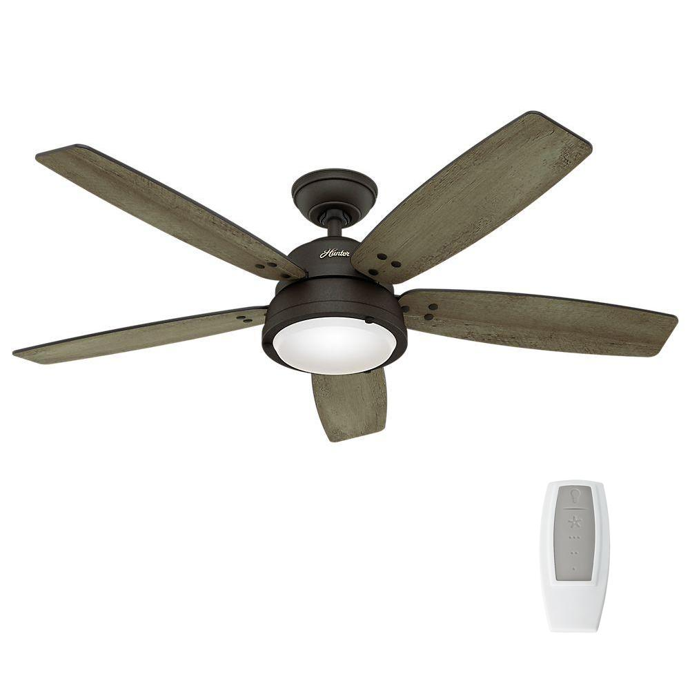 High Speed Outdoor Ceiling Fans: Hunter Channelside 52 In. LED Indoor/Outdoor Noble Bronze