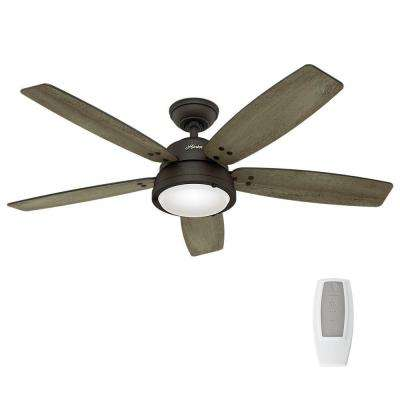 Hunter ceiling fans lighting the home depot led indooroutdoor noble bronze ceiling fan with remote control aloadofball Image collections