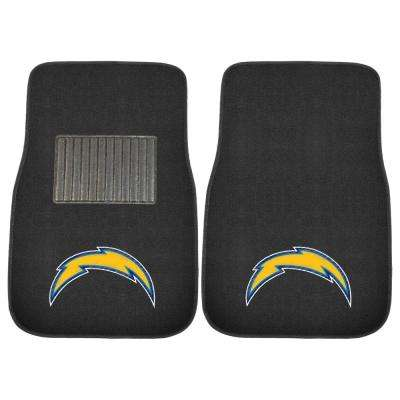 NFL - Los Angeles Chargers 17 in. x 25.5 in. 2-Piece Set of Embroidered Car Mat